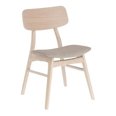 Lochy Wooden Dining Chair, Light Oak / Beige