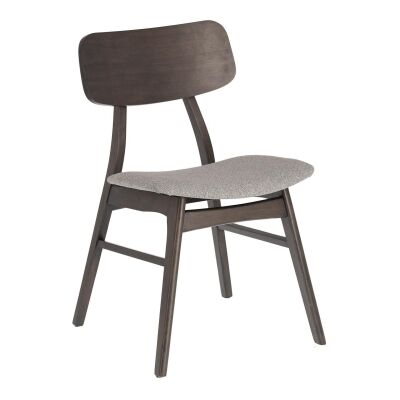 Lochy Wooden Dining Chair, Dark Brown / Light Grey