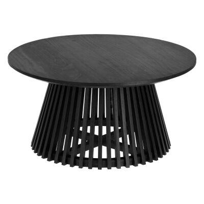 Amrit Mindi Wood Round Coffee Table, 80cm, Black