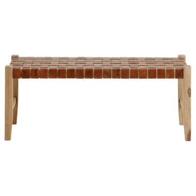 Apia Leather & Teak Timber Bench, 120cm