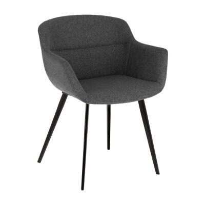Ocaro Fabric Dining Armchair, Dark Grey