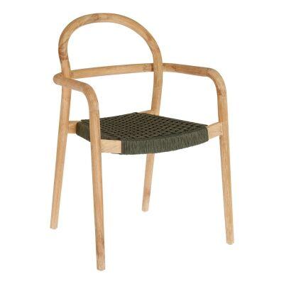 Petone Eucalyptus Timber Dining Chair, Natural / Dark Green