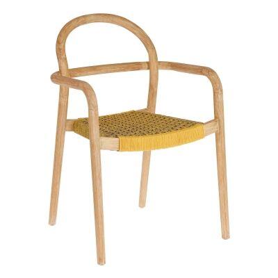 Petone Eucalyptus Timber Dining Chair, Natural / Mustard