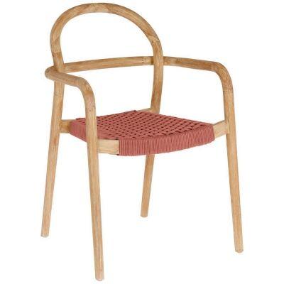Petone Eucalyptus Timber Indoor / Outdoor Dining Chair, Natural / Tettacotta