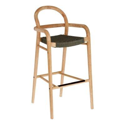 Petone Eucalyptus Timber Bar Chair, Natural / Dark Green
