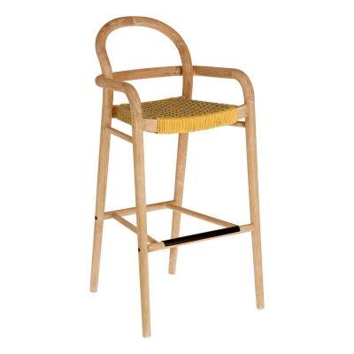 Petone Eucalyptus Timber Bar Chair, Natural / Mustard