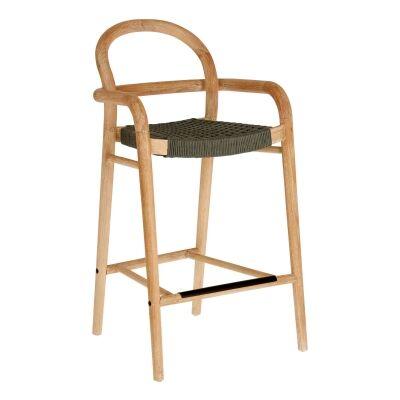 Petone Eucalyptus Timber Counter Chair, Natural / Dark Green