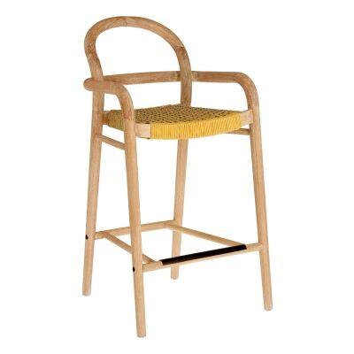 Petone Eucalyptus Timber Counter Chair, Natural / Mustard