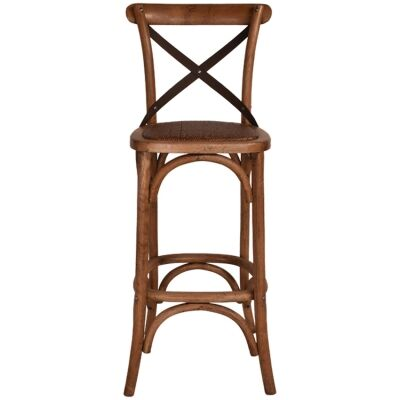 Hoton Oak Timber Cross Back Bar Stool, Black Metal Strap