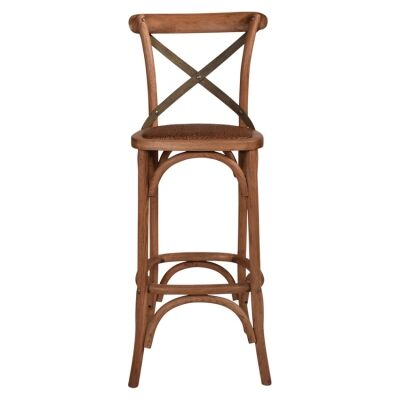 Hoton Oak Timber Cross Back Bar Stool, Grey Metal Strap