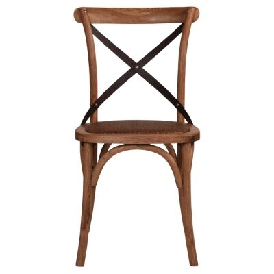 Hoton Oak Timber Cross Back Dining Chair, Black Metal Strap