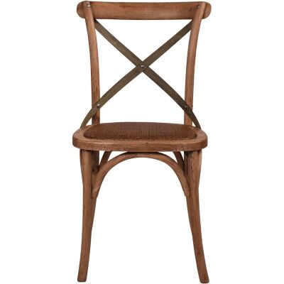Hoton Oak Timber Cross Back Dining Chair, Grey Metal Strap