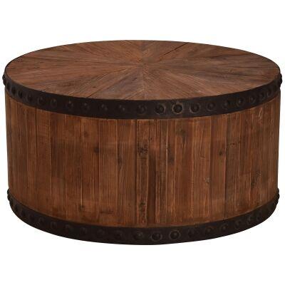 Blackburn Parquet Elm Timber Round Coffee Table, 80cm
