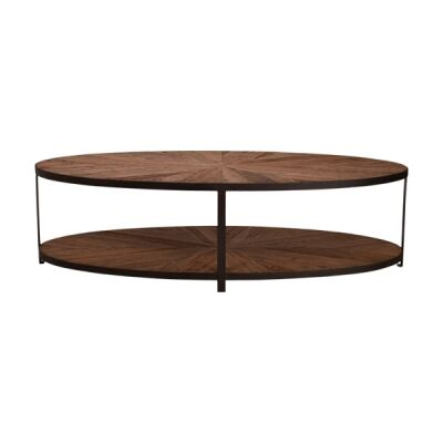 Elford Reclaimed Oak Timber & Iron Oval Coffee Table, 160cm