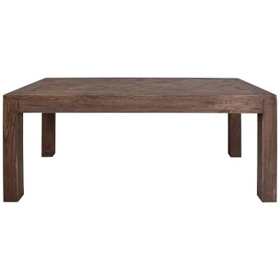 Bolton Parquet Elm Timber Dining Table, 180cm