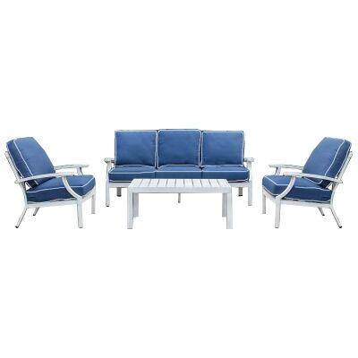 Portsea 4 Piece Aluminium Outdoor Lounge Set, White / Navy