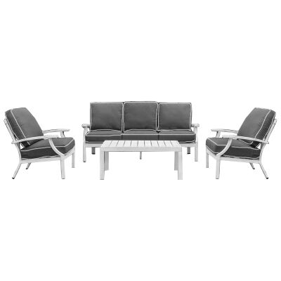 Portsea 4 Piece Aluminium Outdoor Lounge Set, White / Dark Grey