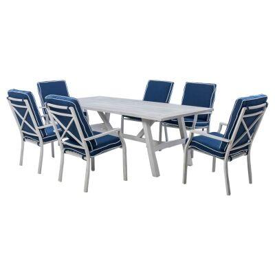 Portsea 7 Piece Aluminium Outdoor Dining Table Set, 220cm, White / Navy