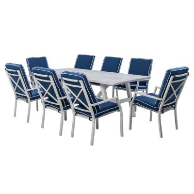 Portsea 9 Piece Aluminium Outdoor Dining Table Set, 285cm, White / Navy