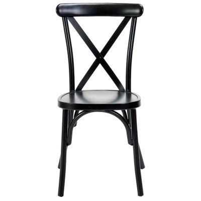 Ruelle Commercial Grade Stackable Metal Outdoor Cross Back Dining Chair, Matt Black