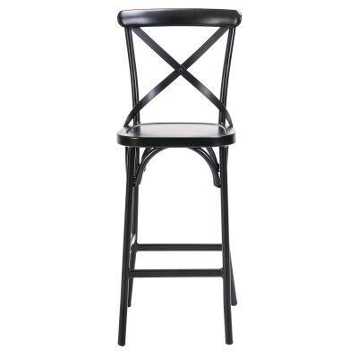 Ruelle Commercial Grade Metal Indoor / Outdoor Cross Back Bar Chair, Matt Black