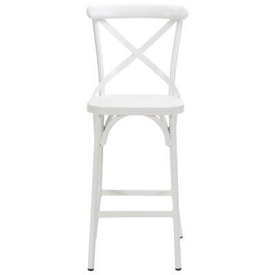 Ruelle Commercial Grade Metal Outdoor Cross Back Bar Chair, Matt White