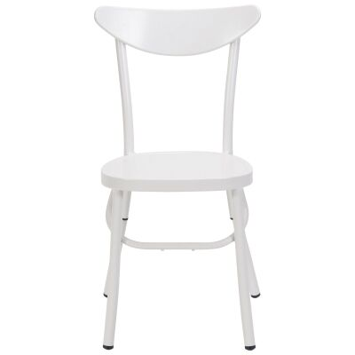 Meli Commercial Grade Metal Indoor/ Outdoor Stackble Dining Chair, White