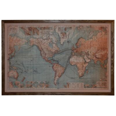 Map of The World Framed Canvas Wall Art Print with LED, 180cm, Blue