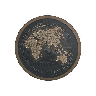 Map of The World Round Framed Canvas Wall Art Print with LED, 100cm