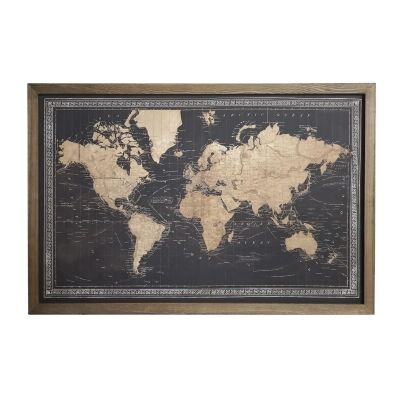 Borded Map of The World Framed Canvas Wall Art Print with LED, 120cm, Black