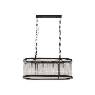Canterbury Metal & Glass Oval Pendant Light, 4 Light