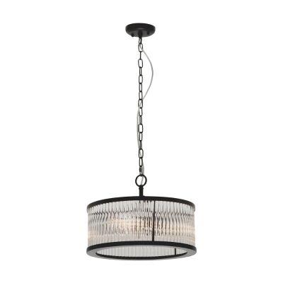 Canterbury Metal & Glass Round Pendant Light, 3 Light