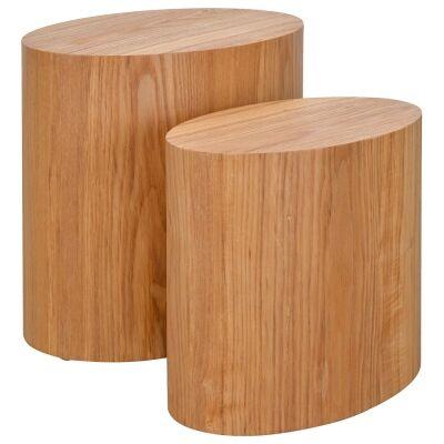 Jelsa 2 Piece Wooden Oval Side Table Set, Ashwood