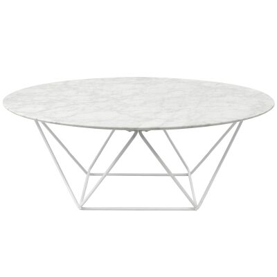 Owen Marble & Metal Round Coffee Table, 100cm, White Base