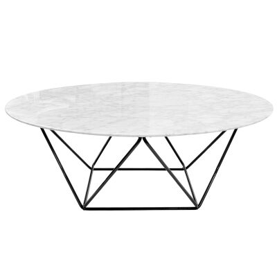 Owen Marble & Metal Round Coffee Table, 100cm, Black Base