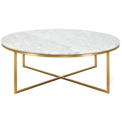 Kylie Marble & Stainless Steel Round Coffee Table, 100cm