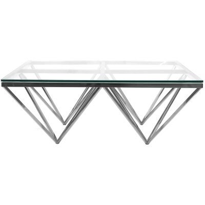 Elvina Glass & Stainless Steel Square Coffee Table, 105cm, Silver