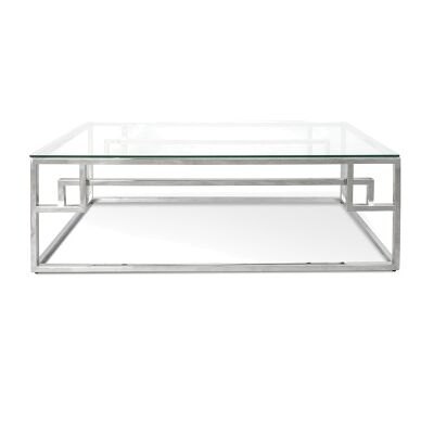 Mackerel Glass & Stainless Steel Coffee Table, 120cm, Silver