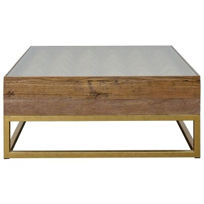 Teddy Reclaimed Elm Timber & Iron Square Coffee Table, 100cm