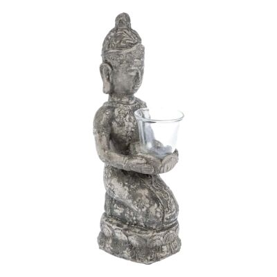 Stetson Ceramic Kneeling Buddha Candle Holder, Distressed Dark Grey