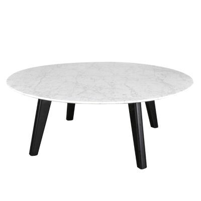 Hansel Round Marble Top Coffee Table, 100cm, White / Black