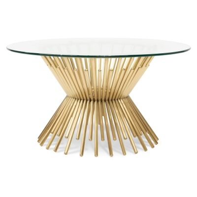 Kolora Glass Topped Metal Round Coffee Table, 90cm