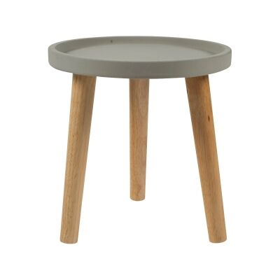 Erridge Concrete Tray Top Oak Timber Side Table, Small