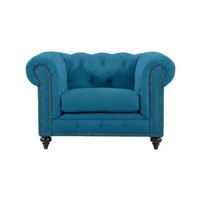 Chesterfield Velvet Fabric Armchair, Turquoise