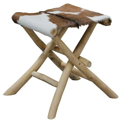 Wichita Solid Teak Timber Folding Stool with Goat Hide Seat