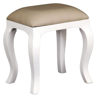 Queen Anne Solid Mahogany Timber Dressing Stool, White