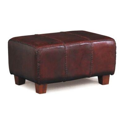 Rhyno Leather Upholstered Mahogany Timber Ottoman - Small