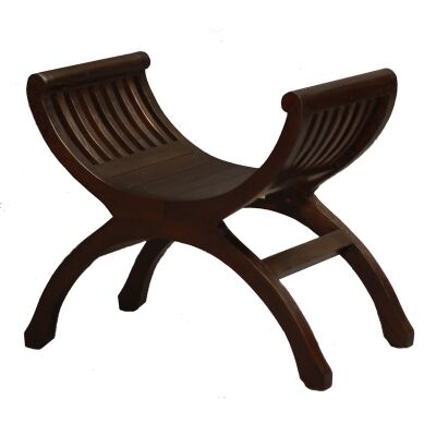 Liam Solid Mahogany Timber Single Seater Bench, Chocolate