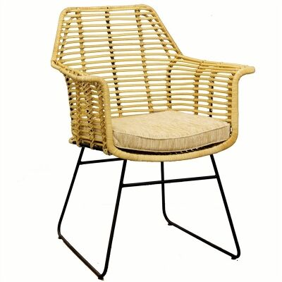 Rosaline Hand Woven Rattan Armchair with Cushion - Natural
