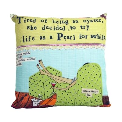 Embroidered Linen Blend Leigh Pillow - Life